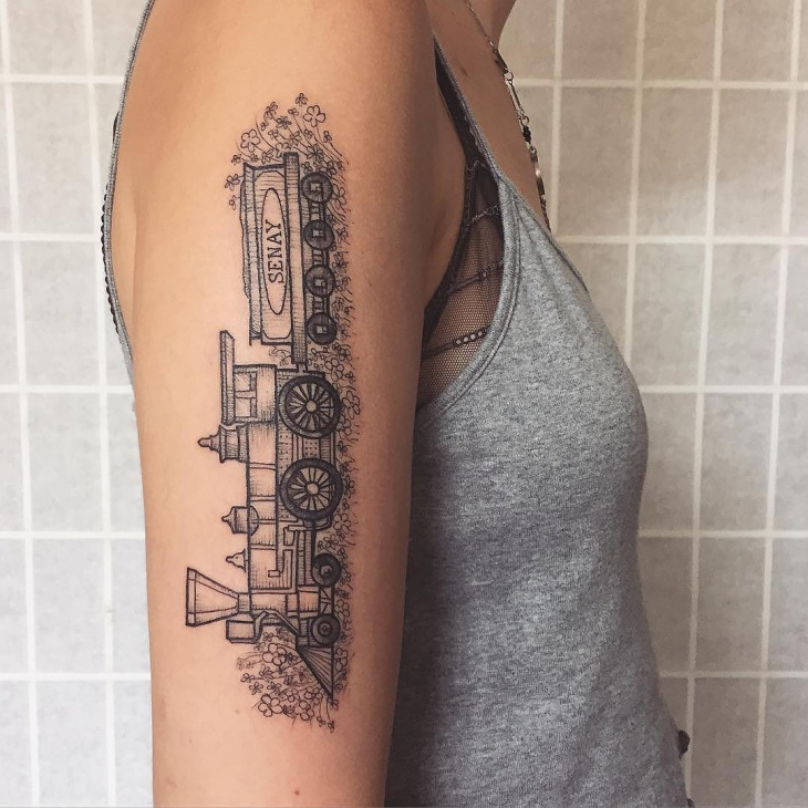 Simple Train Tattoo Idea