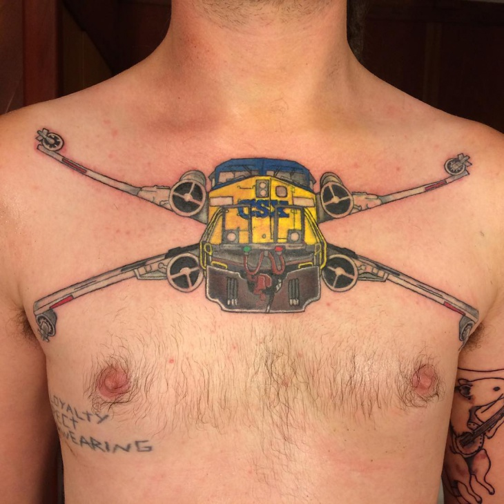 Train Chest Tattoo Idea