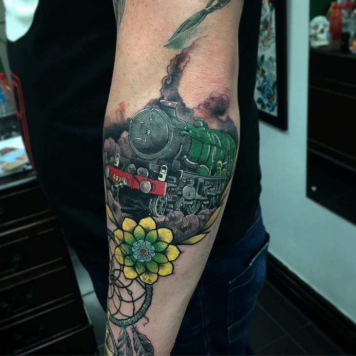 Green Train Tattoo