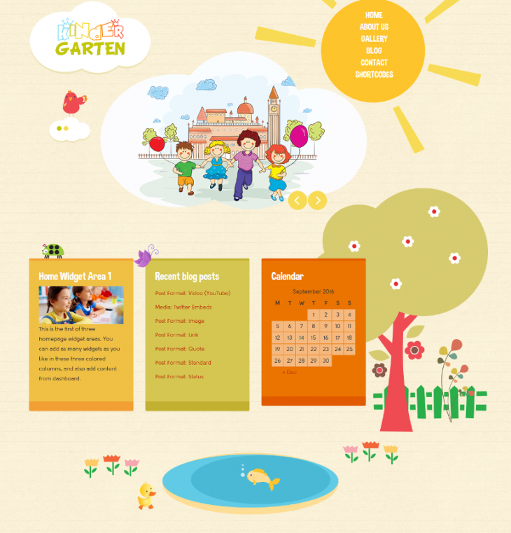 bootstrap kindergarten wordpress theme1