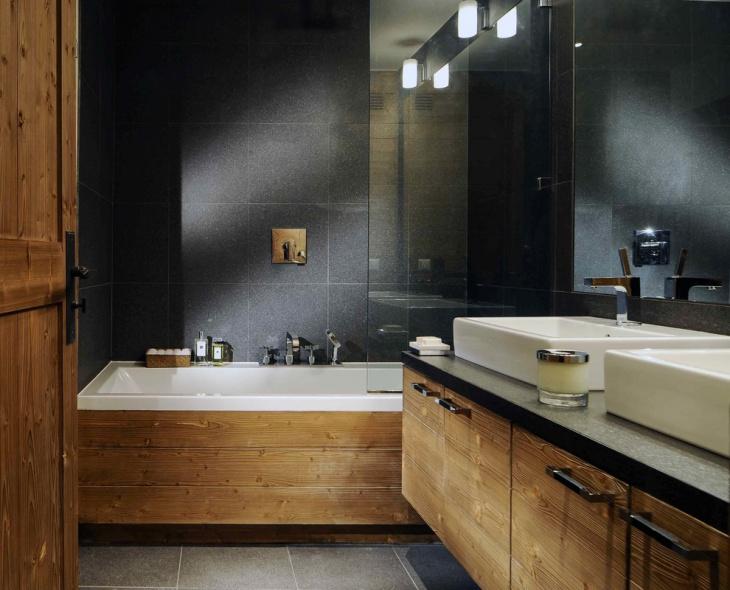 eclectic resort chalet bathroom