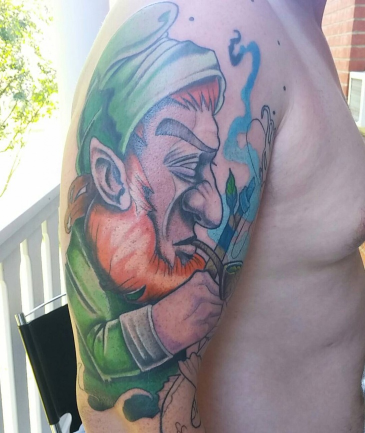 neo traditional leprechaun tattoo