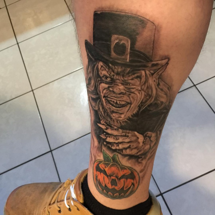 leprechaun tattoo on leg