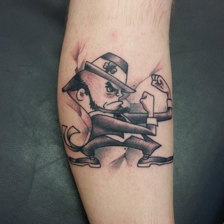 Black and Gray Leprechaun Tattoo