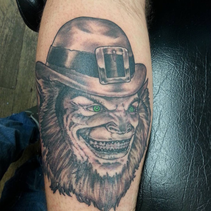 scary leprechaun tattoo design