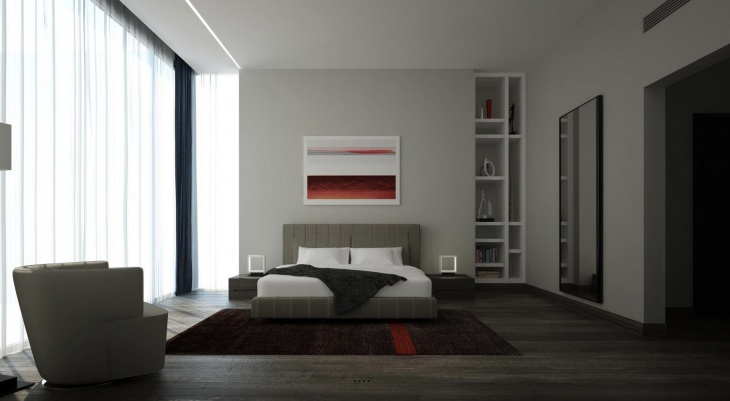 zen style bedroom rug idea