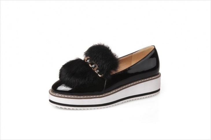 Fur Leather Shoes