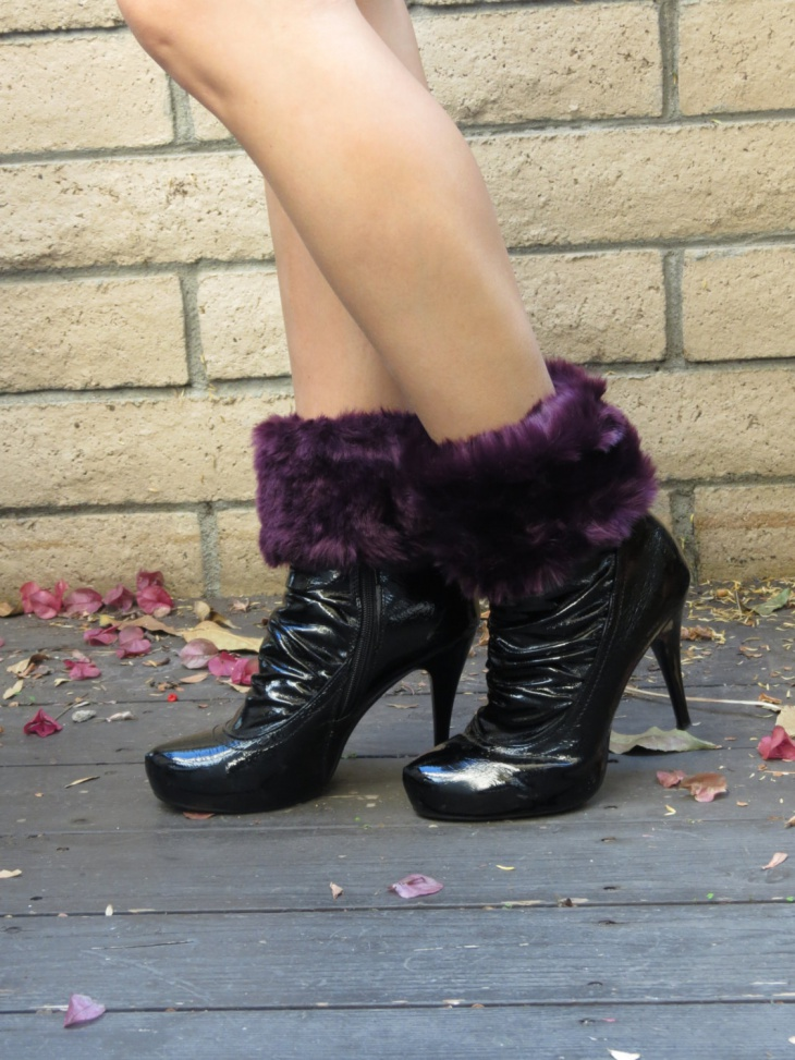 Purple and Black Fur Shoes