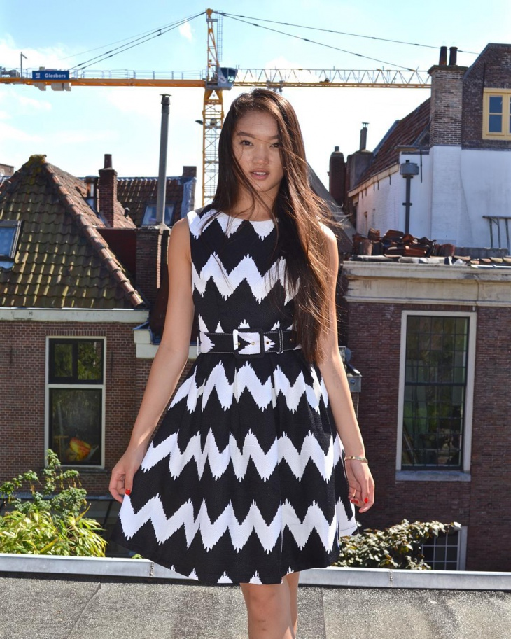 black and white balloon dress