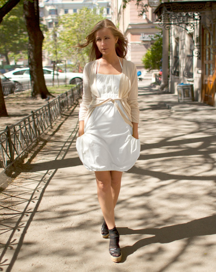 white balloon dress