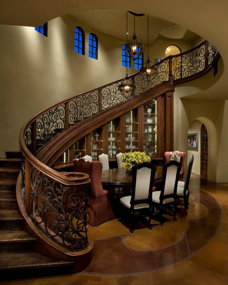 hardwood stair metal railing idea