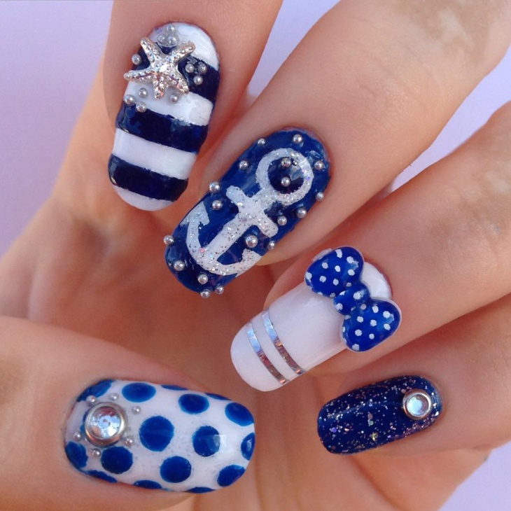 bow anchor nail art design