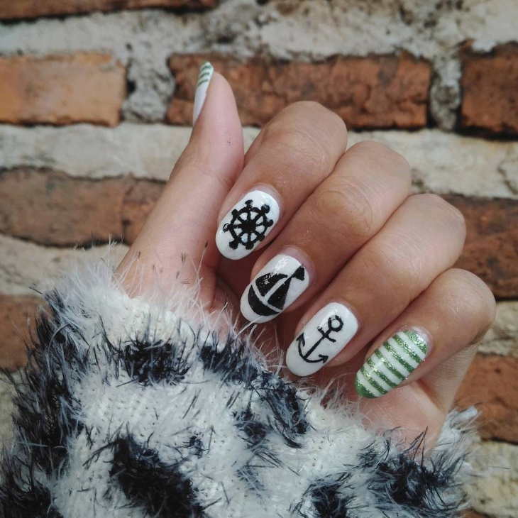 black anchor nail design