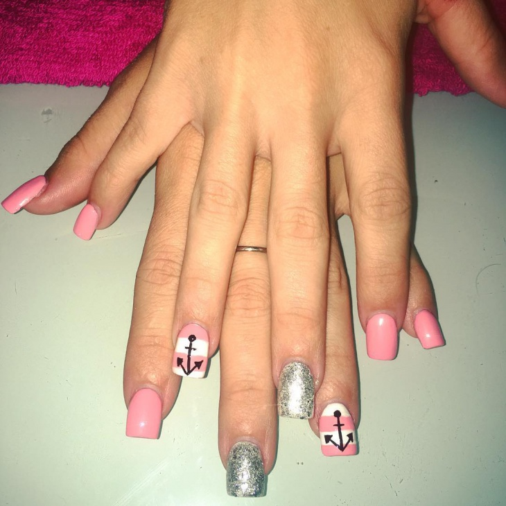 pink anchor nail design