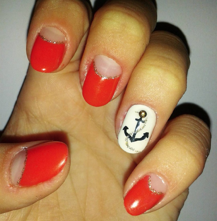 red anchor nail art