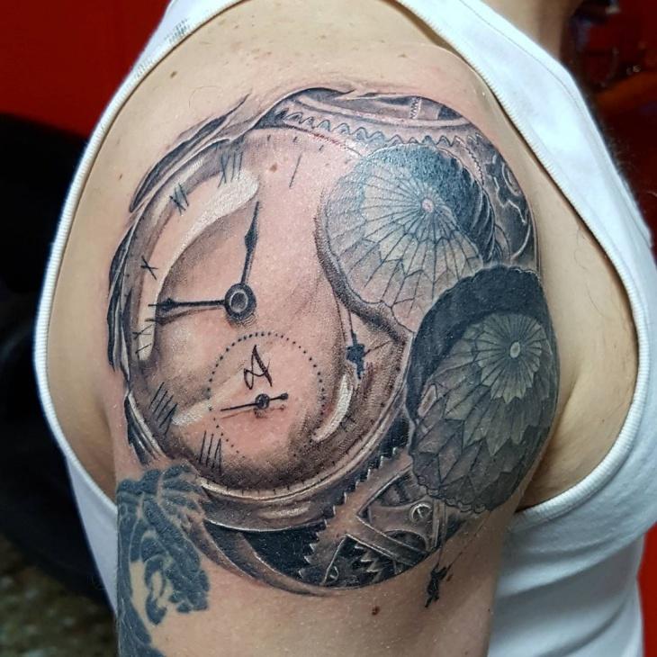 Parachute Tattoo on Upper Arm