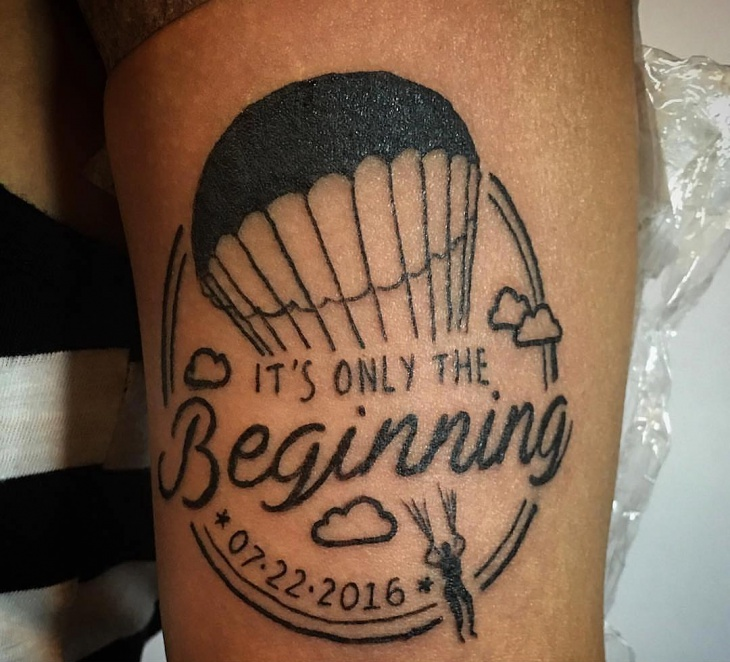 Parachute Black Work Tattoo