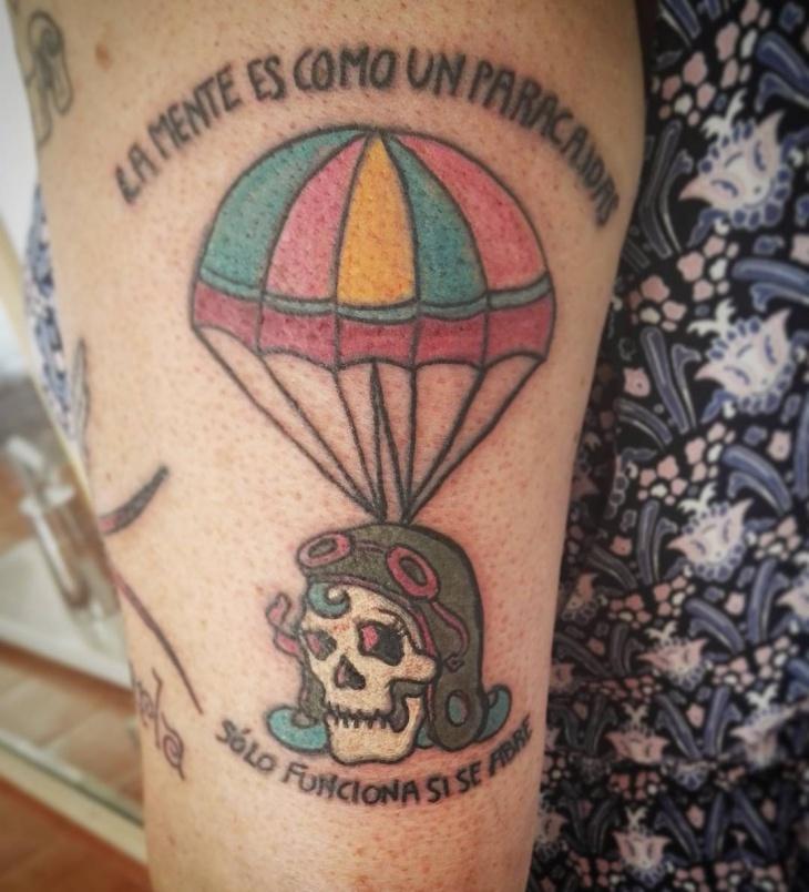 Skull Parachute Tattoo Idea
