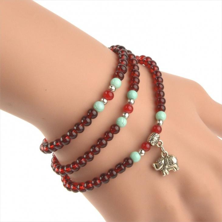 garnet turquoise beads bracelet