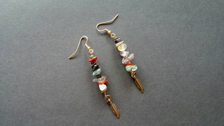 wire wrap feather earrings