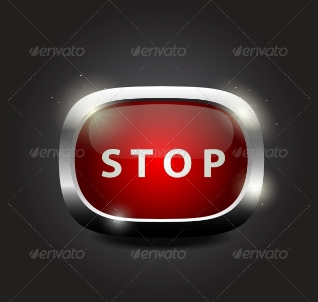 Shiny Glass Stop Button