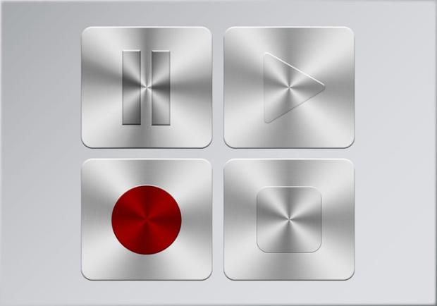 metallic stop buttons