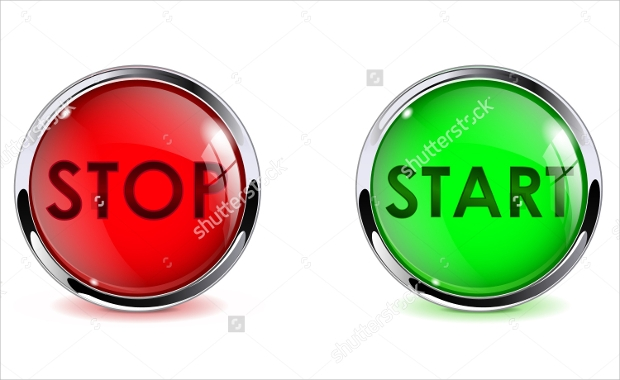 Glass Round Start and Stop Buttons