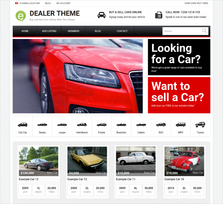 Optimized Car Dealer WordPress Theme