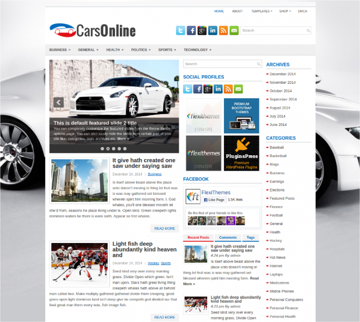 online free car dealer wordpress theme