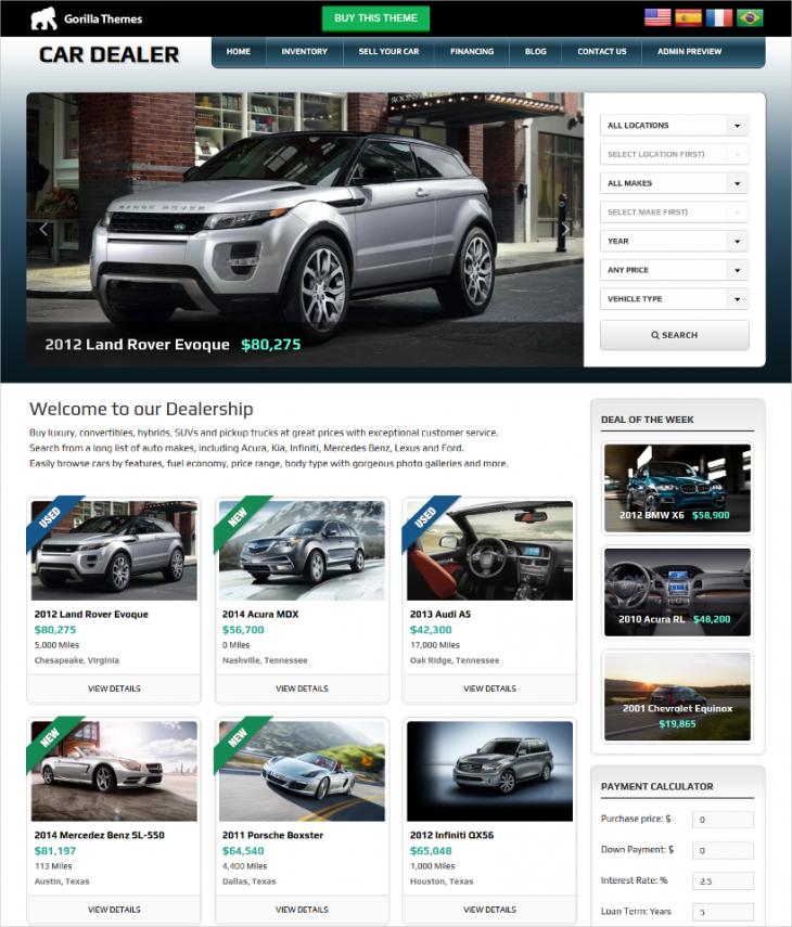 Mobile Responsive Car Dealer WordPress Theme