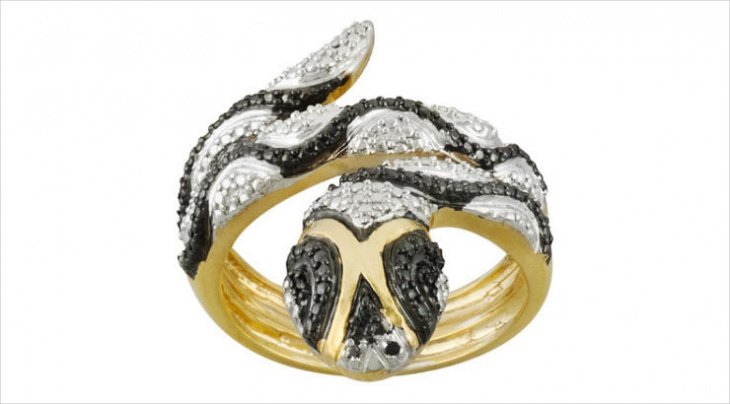 black and white snake ring