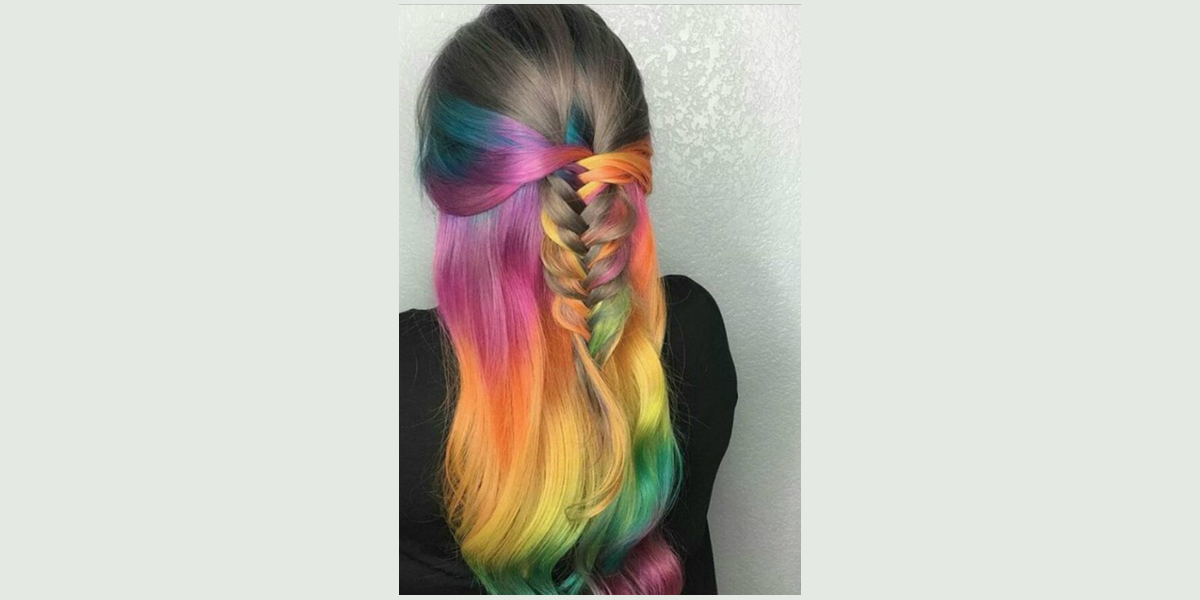 rainbow highlighted center braid