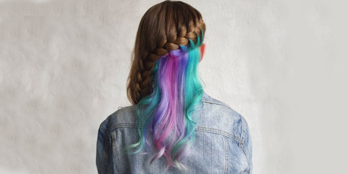 rainbow highlighted side braid