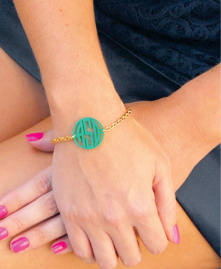 monogram acrylic bracelet