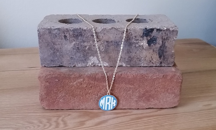 Enamel Monogram Necklace