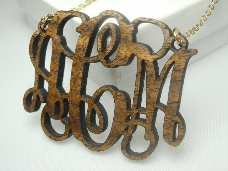 monogram wooden pendant