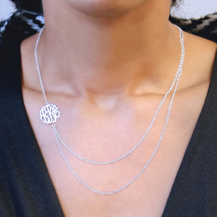 layered monogram necklace