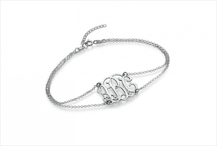 stainless steel monogram bracelet