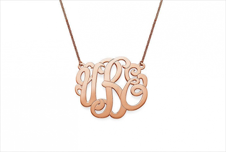 rose gold monogram pendant necklace