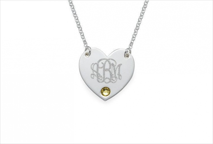 heart shape monogram pendant