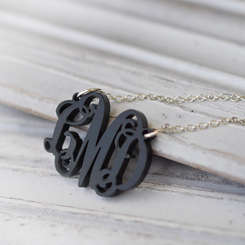 Black Monogram Pendant Design