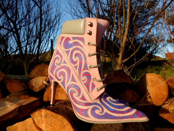 high heel psychedelic boots