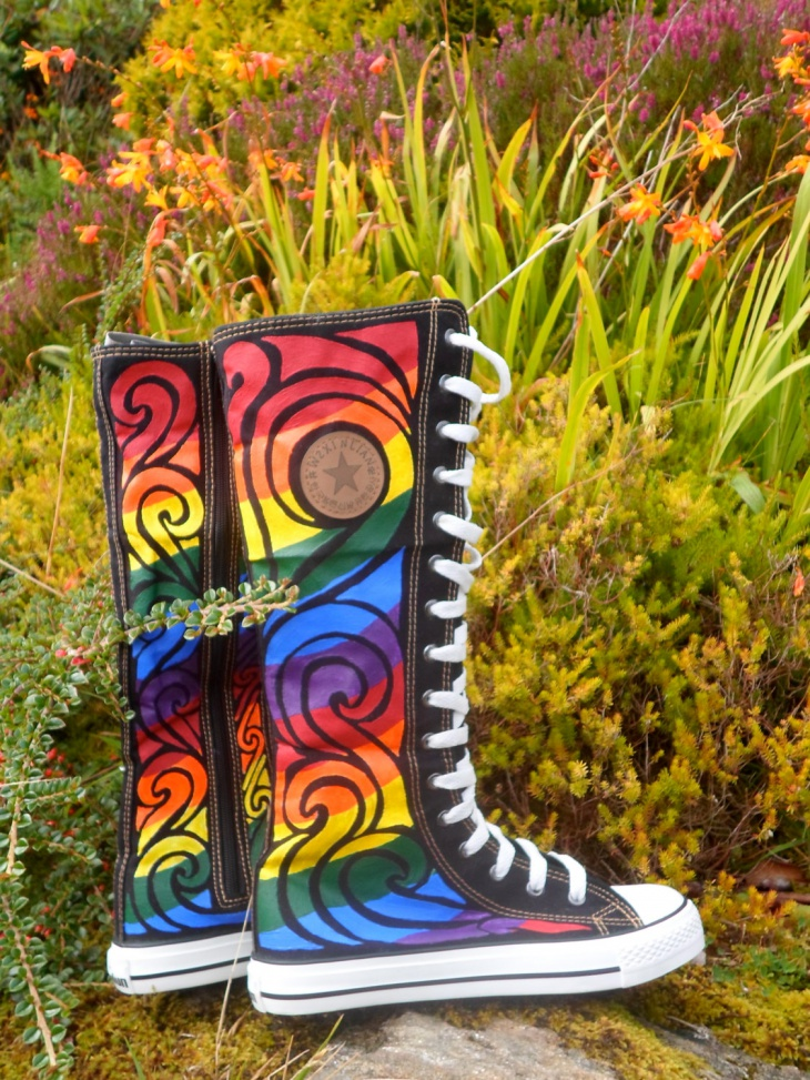 Psychedelic Knee High Boots