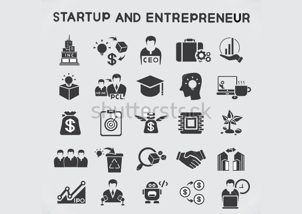 startup business and entrepreneur icons set