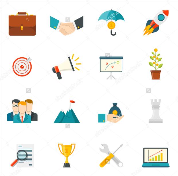 Entrepreneurship Flat Color Icons Set