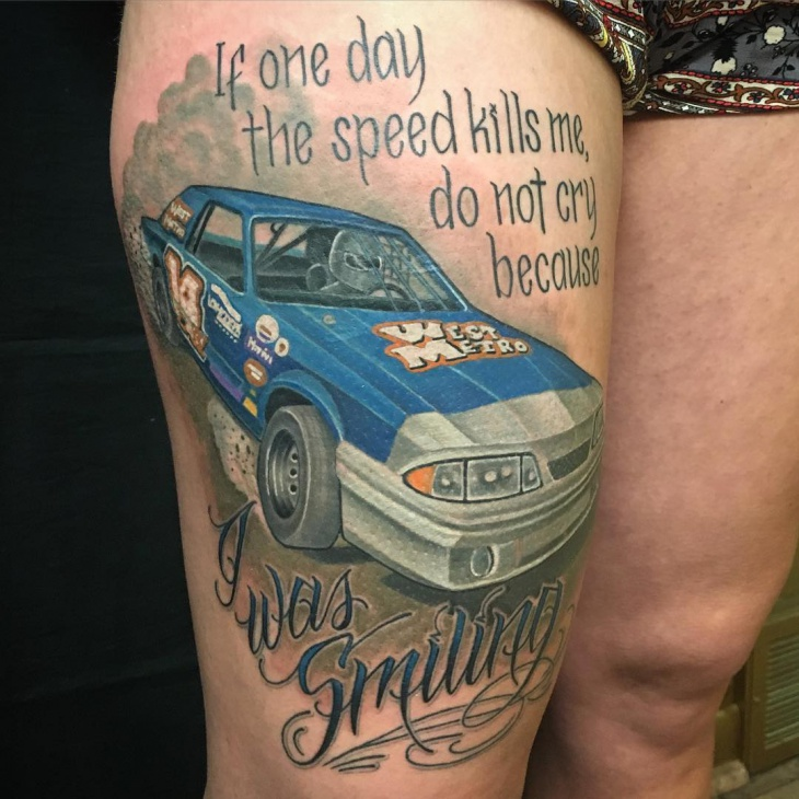 race car tattoo idea