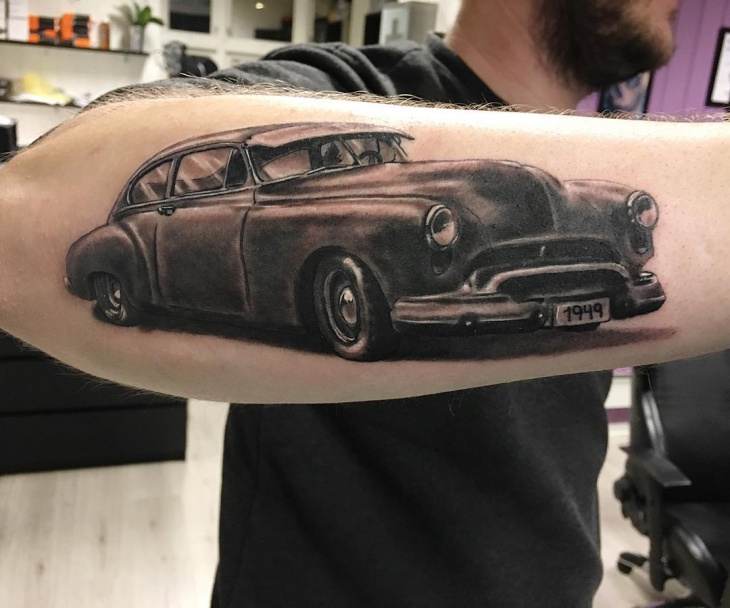 Old Car Tattoo on Hand