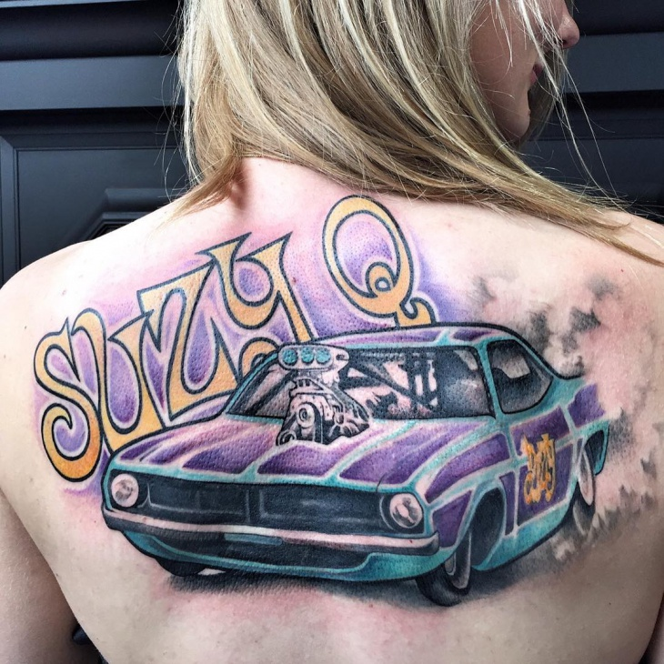 Colorful Car Tattoo on Back