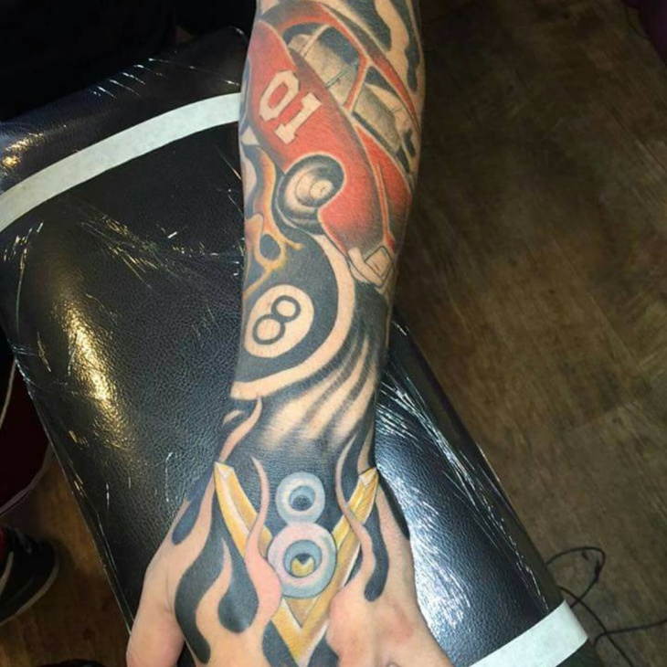 beautiful car tattoo on hand