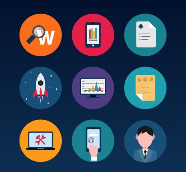 Colorful Entrepreneurship Icons